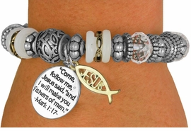 "<BR>                  LEAD AND NICKEL FREE!<BR>         W17278B - ""�I WILL MAKE YOU <br> FISHERS OF MEN"" BEAUTIFULLY DETAILED<br>          STRETCH RELIGIOUS ICHTHUS <br>          BRACELET FROM $7.31 TO $16.25"