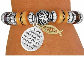 "<BR>                  LEAD AND NICKEL FREE!<BR>         W17279B - ""�I WILL MAKE YOU <br> FISHERS OF MEN"" BEAUTIFULLY DETAILED<br>          STRETCH RELIGIOUS ICHTHUS <br>          BRACELET FROM $7.31 TO $16.25"