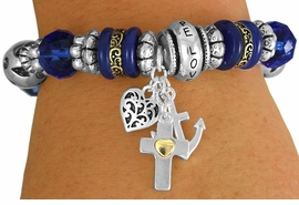 "<BR>                  LEAD AND NICKEL FREE!<BR>           W17319B - ""HOPE FAITH LOVE"" <br>         BEAUTIFULLY DETAILED STRETCH <br>  RELIGIOUS CROSS HEART AND ANCHOR  <br>          BRACELET FROM $7.31 TO $16.25"