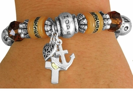 "<BR>                  LEAD AND NICKEL FREE!<BR>           W17320B - ""HOPE FAITH LOVE"" <br>         BEAUTIFULLY DETAILED STRETCH <br>  RELIGIOUS CROSS HEART AND ANCHOR  <br>          BRACELET FROM $7.31 TO $16.25"