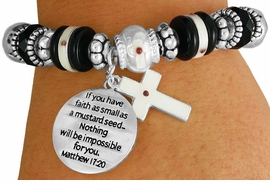 "<BR>                  LEAD AND NICKEL FREE!<BR>         W17324B - ""�FAITH AS SMALL AS <br>          A MUSTARD SEED..."" BEAUTIFULLY <br>       DETAILED STRETCH RELIGIOUS CROSS <br>          BRACELET FROM $7.31 TO $16.25"