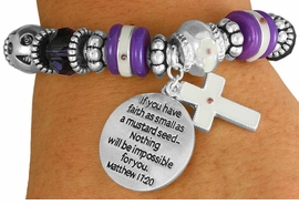 "<BR>                  LEAD AND NICKEL FREE!<BR>         W17325B - ""�FAITH AS SMALL AS <br>          A MUSTARD SEED..."" BEAUTIFULLY <br>       DETAILED STRETCH RELIGIOUS CROSS <br>          BRACELET FROM $7.31 TO $16.25"