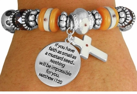 "<BR>                  LEAD AND NICKEL FREE!<BR>         W17327B - ""�FAITH AS SMALL AS <br>          A MUSTARD SEED..."" BEAUTIFULLY <br>       DETAILED STRETCH RELIGIOUS CROSS <br>          BRACELET FROM $7.31 TO $16.25"