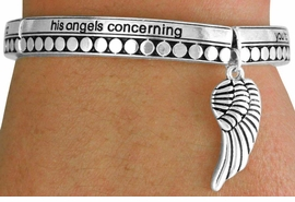 <BR>              LEAD AND NICKEL FREE!<BR>   W17333B - BEAUTIFULLY DETAILED  <br> SILVER TONE ANGEL WING STRETCH <br>      BRACELET FROM $6.75 TO $15.00