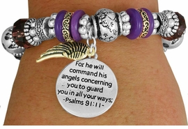 "<BR>                  LEAD AND NICKEL FREE!<BR> W17340B - ""FOR HE WILL COMMAND HIS <br>      ANGELS..."" BEAUTIFULLY DETAILED <br>         STRETCH RELIGIOUS ANGEL WING  <br>          BRACELET FROM $7.31 TO $16.25"