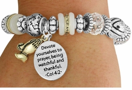 "<BR>               LEAD AND NICKEL FREE!<BR> W17346B - ""DEVOTE YOURSELVES TO  <br>   PRAYER..."" BEAUTIFULLY DETAILED <br>              LORDS PRAYER STRETCH <br>       BRACELET FROM $7.31 TO $16.25"