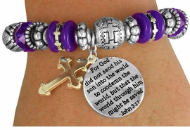 "<BR>                  LEAD AND NICKEL FREE!<BR>       W17370B - ""�THE WORLD THROUGH<br>        HIM MIGHT BE SAVED BEAUTIFULLY <br>    DETAILED STRETCH RELIGIOUS CROSS <br>          BRACELET FROM $7.31 TO $16.25"