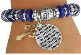 "<BR>                  LEAD AND NICKEL FREE!<BR>       W17372B - ""�THE WORLD THROUGH<br>        HIM MIGHT BE SAVED BEAUTIFULLY <br>    DETAILED STRETCH RELIGIOUS CROSS <br>          BRACELET FROM $7.31 TO $16.25"