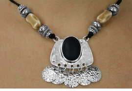 <BR>                   LEAD AND NICKEL FREE!! <BR>  W17819NE - TRIBAL BLACK SILVER AND <BR>            TEA COLOR ACCENT NECKLACE<BR>     EARRING SET FROM $16.31 TO $36.25