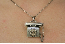 <BR>                    LEAD AND NICKEL FREE!!! <BR> W17876N - MATTE ANTIQUE GOLD TONE ROTARY <BR>      PHONE NECKLACE FROM $4.50 TO $10.00