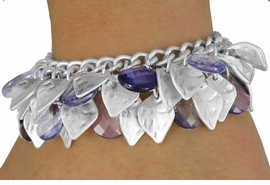 <BR>                 LEAD AND NICKEL FREE<BR> W17983B - MATTE SILVER TONE LEAF <BR> AND BLUE FACETED TEAR DROP BEAD <BR>    BRACELET FROM $10.69 TO $23.75