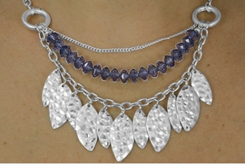 <BR>                 LEAD AND NICKEL FREE<BR> W17984NE - MATTE SILVER TONE LEAF <BR>       AND SMOKEY BLUE FACETED BEAD <BR>               NECKLACE AND EARRING<BR>            SET FROM $13.50 TO $30.00