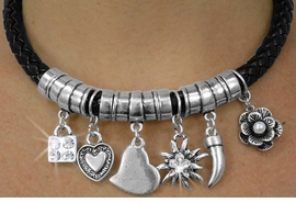 <BR>                   LEAD AND NICKEL FREE!! <BR>  W18068NEA - BRAIDED BLACK CORD AND <BR>         SILVER TONE CHARM NECKLACE<BR> EARRING ASSORTMENT FROM $17.44 TO $34.90
