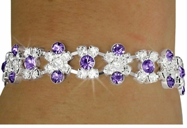<BR>            LEAD AND NICKEL FREE!!<BR> W18202B - PURPLE TANZANITE AND<Br>     CLEAR WAVE AUSTRIAN CRYSTAL<br>    LATCH CLASP BRACELET FROM<bR>                     $5.06 TO $11.25