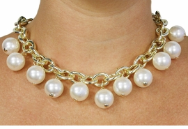 <BR>           LEAD AND NICKEL FREE!! <BR> W18406NE - FAUX CREAM PEARL BEAD  <BR> AND GOLD TONE CHAIN NECKLACE AND <BR> EARRING SET FROM $12.94 TO $28.75