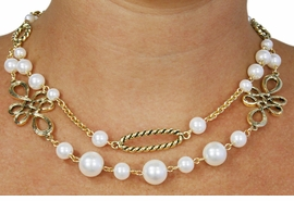 <BR>           LEAD AND NICKEL FREE!! <BR>    W18410NE - FAUX PEARL BEAD  <BR>           AND GOLD TONE CHAIN <BR>    NECKLACE FROM $10.69 TO $23.75
