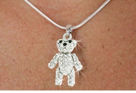 <Br>                   LEAD AND NICKEL FREE<br>W18482N -PAVE AUSTRIAN CRYSTAL <Br>   SILVER FINISH MOVABLE TEDDY BEAR <bR>         NECKLACE FROM $3.35 TO $7.50