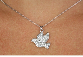 <Br>                 LEAD AND NICKEL FREE<br>W18548N -PAVE AUSTRIAN CRYSTAL <Br>                  SILVER FINISH DOVE <bR>    NECKLACE FROM $3.35 TO $7.50