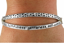 """<Br>               LEAD AND NICKEL FREE!!<BR>       W18862B - """"LOVE JOY PEACE...""""<Br>  CROSSED SILVER TONE AND SWIRL<br>           PRINTED STRETCH BRACELET<Br>               FROM $6.19 TO $13.75"""