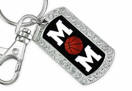 "<BR>      LEAD AND NICKEL FREE!! <BR>W19356KC - ""BASKETBALL MOM"" <BR>GENUINE CRYSTAL AND SILVER <BR>     TONE DOG TAG KEY CHAIN <BR>        FROM $5.63 TO $12.50"