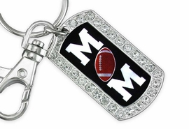 "<BR>      LEAD AND NICKEL FREE!! <BR>W19358KC - ""FOOTBALL MOM"" <BR>GENUINE CRYSTAL AND SILVER <BR>     TONE DOG TAG KEY CHAIN <BR>        FROM $5.63 TO $12.50"