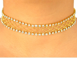 <BR>           LEAD AND NICKEL FREE!!<br>W4203N - GORGEOUS GOLD TONE<BR>   GENUINE SWAROVSKI CRYSTAL<Br>  CHOKER FROM $17.88 TO $33.00
