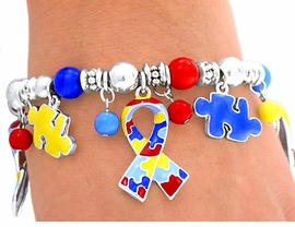 <br>           LEAD AND NICKEL FREE!!<br>W4488B - SILVER FINISH AUTISM<BR>     AWARENESS STRETCH CHARM<BR>   BRACELET FROM $6.75 TO $15.00<BR>                            ©2004