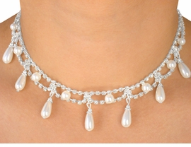 <BR>                LEAD AND NICKEL FREE!!<BR> W5228NE - BREATHTAKING AUSTRIAN<bR>    CRYSTAL & PEARL DROP NECKLACE<br>& EARRING SET FROM $12.19 TO $22.50