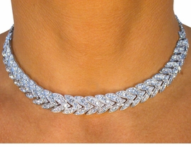 <BR>                  LEAD AND NICKEL FREE!!<BR>   W8319NE - GORGEOUS SILVER FINISH<Br>AUSTRIAN CRYSTAL CHEVRON CHOKER &<Br>    EARRING SET FROM $34.13 TO $63.00