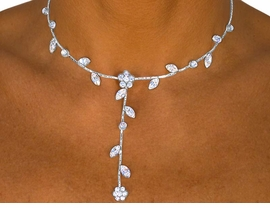 <BR>                    LEAD AND NICKEL FREE!!<bR>W8324NE - BRILLIANT AUSTRIAN CRYSTAL<Br> VINE & FLOWER STRAND DROP NECKLACE<Br>    & EARRING SET FROM $17.88 TO $33.00