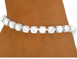 <BR>                LEAD AND NICKEL FREE!!<BR>    W8577B - SPARKLING SILVER TONE<br>7MM AUSTRIAN CRYSTAL LATCH-CLASP<br>       BRACELET FROM $5.63 TO $12.50