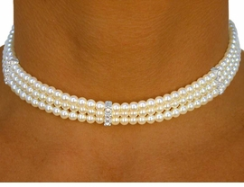 <BR>           LEAD AND NICKEL FREE!!<BR>W8884N - CREAM THREE-STRAND<Br>  5MM FAUX PEARL CHOKER FROM<Br>                    $10.56 TO $19.50