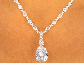 <BR>                  LEAD AND NICKEL FREE!!<BR>    W9236NE - DAZZLING SILVER FINISH<Br>GENUINE AUSTRIAN CRYSTAL TEARDROP<Br>               NECKLACE & EARRING SET<Br>                 FROM $65.81 TO $121.50
