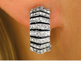 <bR>          LEAD AND NICKEL FREE!!<BR> W9410E - BLACK & SILVER TONE<Br>GENUINE AUSTRIAN CRYSTAL CLIP<Br>EARRINGS FROM $8.44 TO $18.75