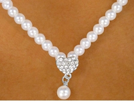 <BR>                   LEAD AND NICKEL FREE!!<BR>  W9438NE - GLOSSY WHITE FAUX PEARL<br>    & GENUINE AUSTRIAN CRYSTAL HEART<Br>NECKLACE & HYPOALLERGENIC TITANIUM<Br>POST EARRING SET FROM $9.75 TO $18.00