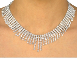<BR>          LEAD AND NICKEL FREE!!<bR>  W9631NE - GENUINE AUSTRIAN<br>CRYSTAL CHOKER & EARRING SET<Br>          FROM $52.00 TO $96.00