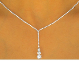 <BR>                LEAD AND NICKEL FREE!!<BR>  W9662NE - ELEGANT SILVER FINISH<br> TRIPLE-STACKED AUSTRIAN CRYSTAL<br>NECKLACE & TITANIUM POST EARRING<br>            SET FROM $11.38 TO $21.00