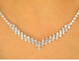 <BR>            LEAD AND NICKEL FREE!!<BR>W9670NE - CAPTIVATING AUSTRIAN<br> CRYSTAL ZIG-ZAG LOBSTER CLASP<bR>   NECKLACE & EARRING SET FROM<bR>                    $16.25 TO $30.00