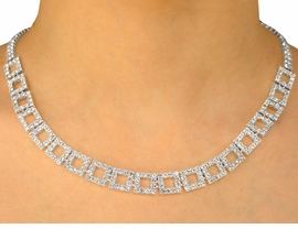 <BR>                   LEAD AND NICKEL FREE!!<BR> W9685NE - GENUINE AUSTRIAN CRYSTAL<br>     SQUARE-LINK NECKLACE & EARRING<Br>              SET FROM $32.50 TO $60.00