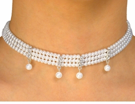 <BR>                  LEAD AND NICKEL FREE!!<bR> W9687NE - THREE-STRAND FAUX PEARL<br>AUSTRIAN CRYSTAL CHOKER & EARRINGS<bR>                   FROM $11.38 TO $21.00