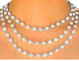 "<BR>                  LEAD AND NICKEL FREE!!<BR>     W9696N - POLISHED SILVER FINISH<br>THREE-STRAND 1/4"" AUSTRIAN CRYSTAL<br>     NECKLACE FROM $55.25 TO $102.00"