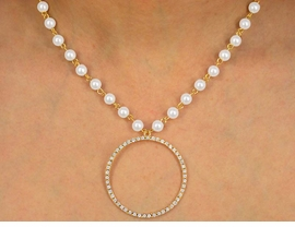 "<BR>               LEAD AND NICKEL FREE!!<bR>W9907NE - GOLD TONE FAUX PEARL &<br>AUSTRIAN CRYSTAL ""CIRCLE OF LOVE""<Br>      NECKLACE & EARRING SET FROM<Br>                       $13.00 TO $24.00"
