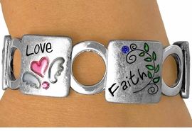 """<Br>LEAD, CADMIUM, & NICKEL FREE!!<Br>    W13421B - """"LOVE FAITH HOPE""""<Br>     AUSTRIAN CRYSTAL ACCENTED<BR>          STRETCH BRACELET FROM<Br>                     $6.95 TO $17.50"""