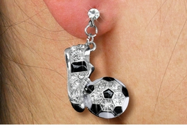 <Br>   LEAD,  NICKEL AND CADMIUM FREE!! <Br>  W19780E -  SPORTY SOCCER THEMED <BR> CLEAR FACETED SPARKLING CRYSTAL<Br>        EARRINGS FROM $5.06 TO $11.25