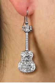 <Br>   LEAD, NICKEL & CADMIUM FREE!!!<BR> W19252E - POLISHED SILVER TONE <br>      AND AUSTRIAN CRYSTAL GUITAR <BR>      EARRINGS FROM $2.81 TO $6.25