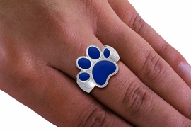 <Br>  LEAD, NICKEL & CADMIUM FREE!! <Br>W19838R - BEAUTIFUL SILVER TONE <BR>  BLUE PAW PRINT STRETCH RING <Br>        FROM $2.81 TO $6.25