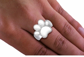 <Br>  LEAD, NICKEL & CADMIUM FREE!! <Br>W19842R - BEAUTIFUL SILVER TONE <BR>  WHITE PAW PRINT STRETCH RING <Br>        FROM $2.81 TO $6.25