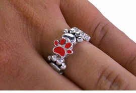 <Br>LEAD, NICKEL & CADMIUM FREE!! <Br>W19848R - SMALL SILVER TONE <BR>  RED PAW PRINT STRETCH RING <Br>         FROM $3.35 TO $7.50