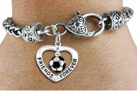 "<Br>           LEAD & NICKEL FREE!!<Br>      AN ALLAN ROBIN DESIGN!!<BR>W19914B - ""FRIENDS FOREVER"" HEART  <Br>WITH SOCCER MINI-CHARM ON <BR>HEART LOBSTER CLASP BRACELET <Br>    FROM $6.19 TO $13.75 �2012"
