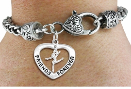 "<Br>           LEAD & NICKEL FREE!!<Br>      AN ALLAN ROBIN DESIGN!!<BR>W19915B - ""FRIENDS FOREVER"" HEART  <Br>WITH GYMNAST MINI-CHARM ON <BR>HEART LOBSTER CLASP BRACELET <Br>    FROM $6.19 TO $13.75 �2012"